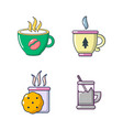 tea cups icon set cartoon style vector image