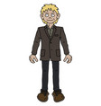 the funny blonde man in a brown jacket vector image vector image