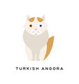 turkish angora cat cartoon domestic animal with vector image