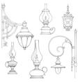 Vintage gas lamps kerosene lamps silhouette vector image