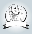 Vintage label with sketch Labrador vector image