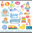 watercolor children and bath time over white vector image vector image