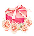 watercolor pink heart shaped gift box and peach vector image