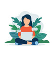 woman-with-laptop vector image vector image