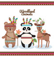 woodland animals with feather crown vector image vector image