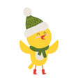 yellow chiken in scarf icon vector image vector image