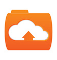 orange folder icon with the image of white clouds vector image