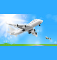 3d white glossy commercial jet airplane take off vector image vector image