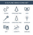 9 xmas icons vector image vector image