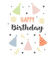birthday card with party hats isolated on white vector image vector image
