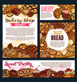 bread and pastry products on bakery shop vector image