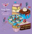 cake set with decoration elements vector image