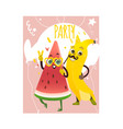 cartoon watermelon banana party character vector image vector image