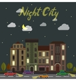 City street at night Cars and buildings in vector image