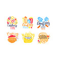 cooking logo and labels design set vector image vector image