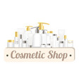 cosmetic shop wood board with cosmetic tubes vector image