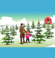 father and son shopping for a christmas tree vector image vector image