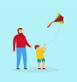 father son and kite background flat style vector image