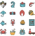 Flat icons for seafood menu vector image
