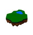 Floating island isolated on white background 3d