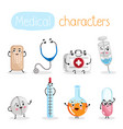 funny medicine equipment cartoon characters vector image vector image