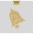 Gold glitter icon of bell isolated on vector image