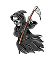 grim reaper flaying and holding scythe vector image vector image