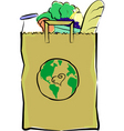 groceries in a paper bag vector image vector image