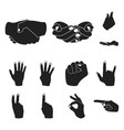 hand gesture black icons in set collection for vector image vector image