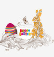 happy easter with doodle floral bunny picture vector image vector image