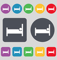 Hotel Icon sign A set of 12 colored buttons Flat vector image vector image