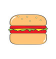 isolated comic burger icon vector image
