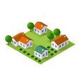 isometric city with houses and streets with trees vector image vector image