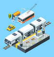 Isometric public transport stations bus and train