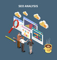 isometric web seo composition vector image