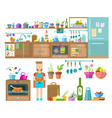 kitchen interior designset of elements vector image vector image