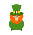 leprechaun with red beard in pot st patricks day vector image vector image