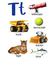 Letter T for telescope truck tennis ball tractor vector image vector image