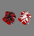 lion male black white red logo vector image vector image