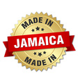 made in Jamaica gold badge with red ribbon vector image vector image