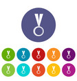 medal icons set flat vector image vector image
