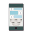mobile phone with chat and keyboard vector image