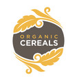 organic cereals logo wheat symbol up and down vector image vector image
