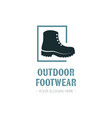 outdoor footwear logo template design with boot vector image