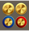 premium golden metal circular buttons set vector image vector image