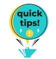 quick tips megaphone label design flat vector image vector image