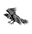 raven flying side tattoo vector image vector image