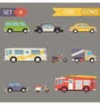 Retro Flat Car Icons Set vector image vector image