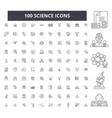 science editable line icons 100 set vector image