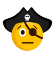serious pirate emoji with a hat vector image vector image